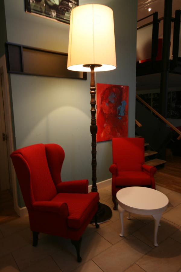 Bespoke CHairs, table and scaled standard lamp.