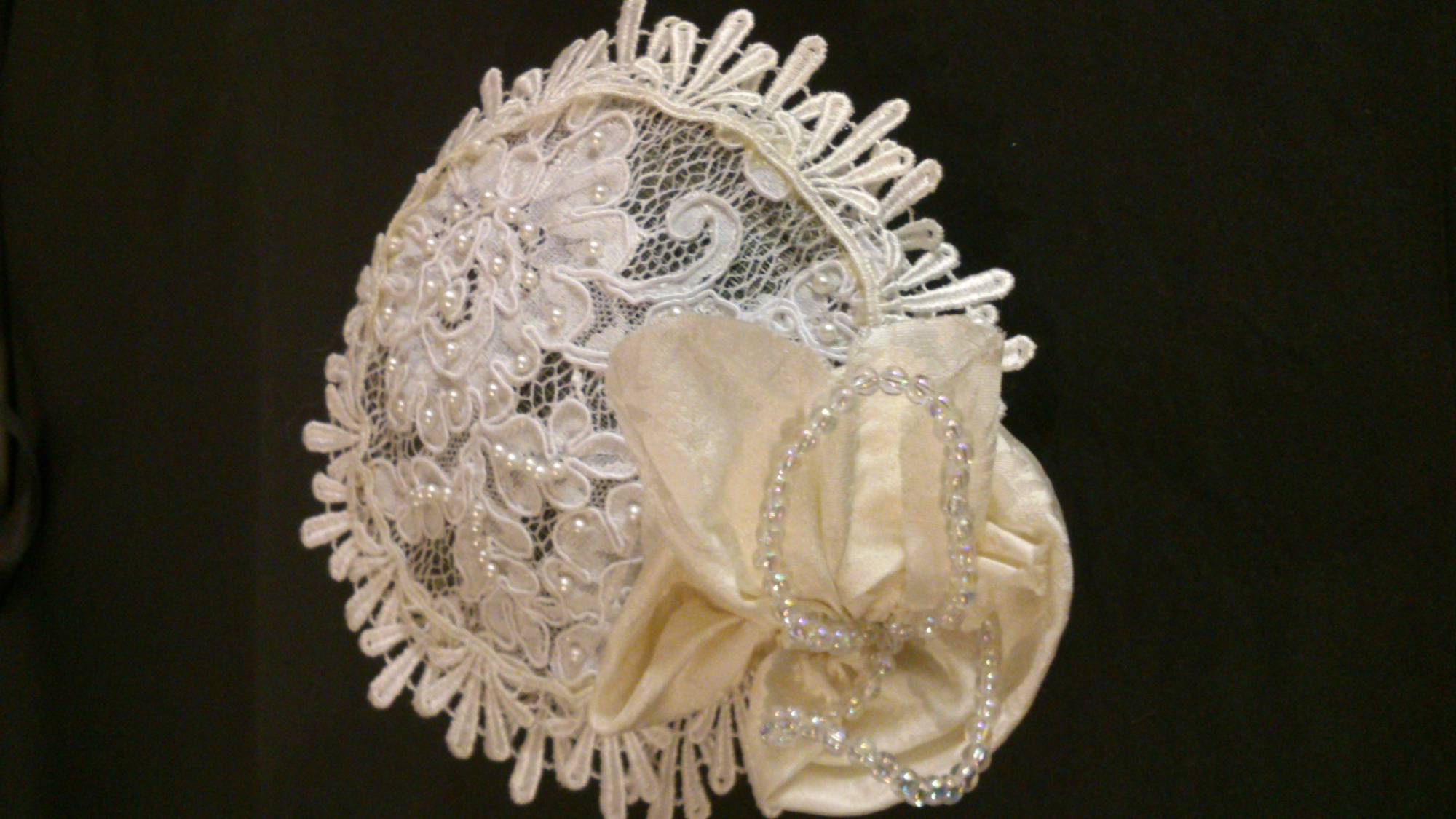 White and ivory silk and lace circlet with pearl details