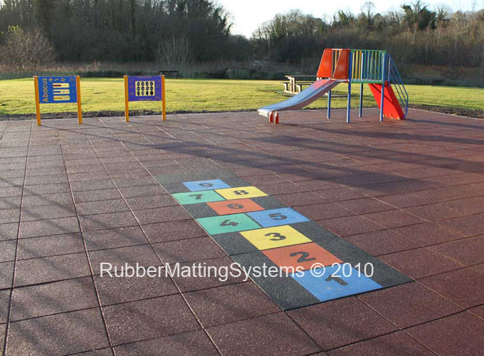 rubber safety playground tiles