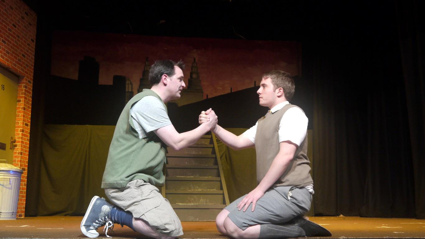 Mark Thomas and Matthew Oliver in Blood Brothers