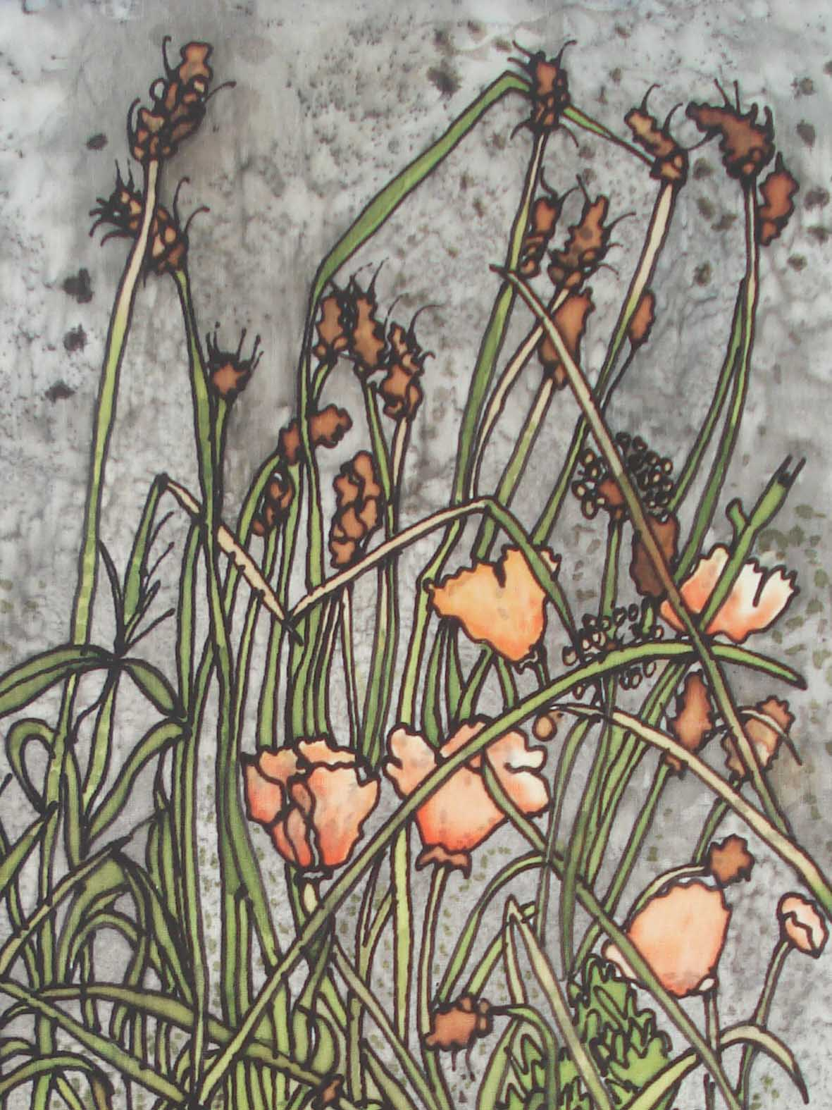 Beach mixed grass and poppies Giclee Print
