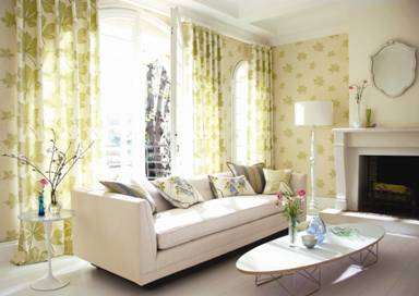 ivory sofa yellow and white wallpaper and curtains