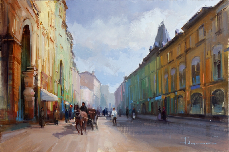 Alexey Shalaev 'An Emerald Morning at Ilyinka Street'