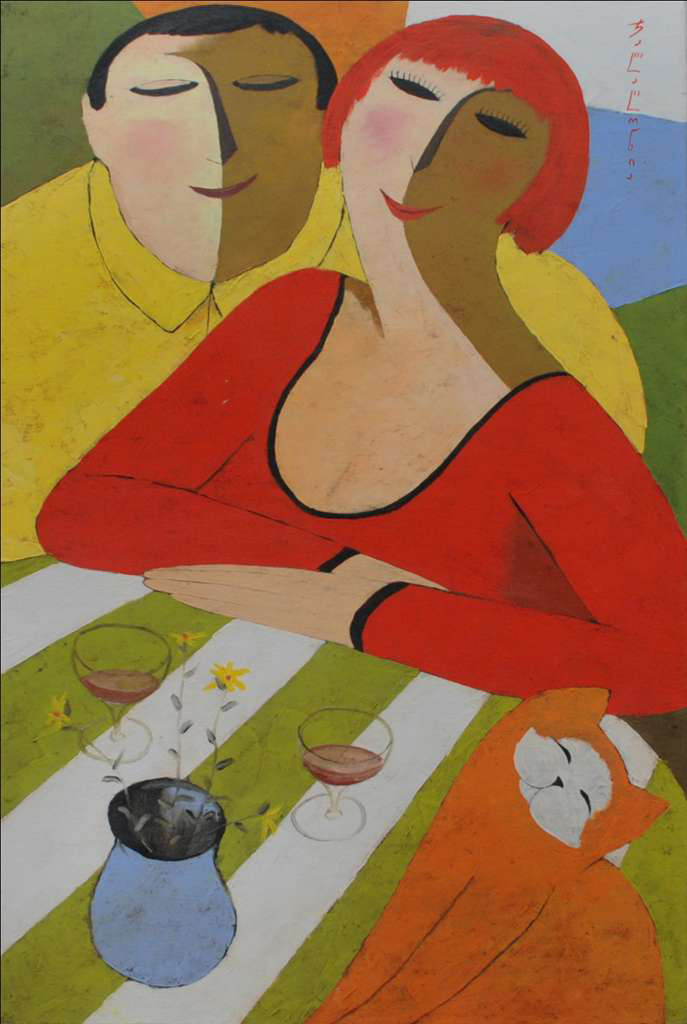Merab Jalagonia 'Lovers with an Orange Cat'
