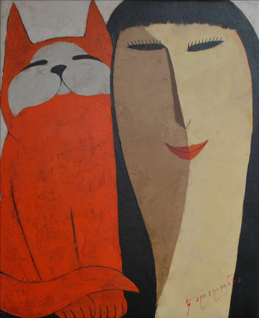 Merab Jalagonia ' A Lady and Her Cat'