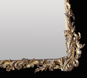Antique carved wood mirror before restoration