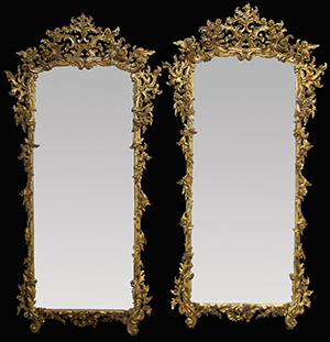 Antique carved wood pair of mirrors