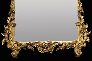 Antique carved wood mirror restored