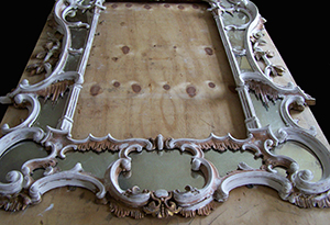 Antique mirror being restored by Ruth Tappin