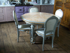 Paint and gilt table and chairs