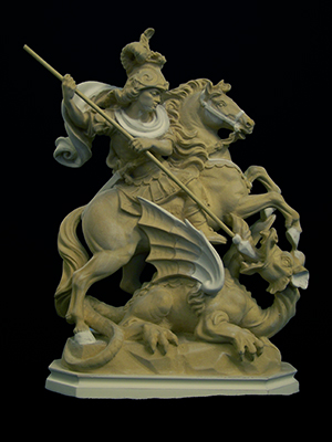 St George sculpture before gilding