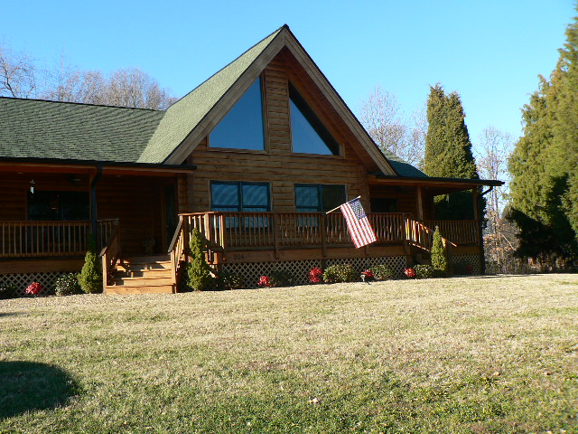 American Flag Log Home
