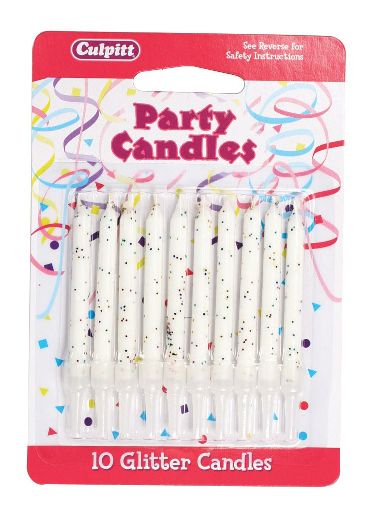 White Glitter Candles (Pack of 10)