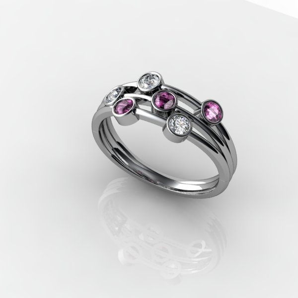 Bespoke diamond and pink sapphire ring